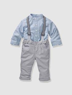 Babyset aus Hemd und Hose für Jungen HELLBLAU+GRAU