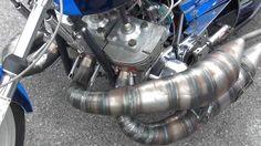 Kawasaki 750 crazy motorcycle dragbike exhaust system close up http://youtu.be/I8ckf2EUB3A