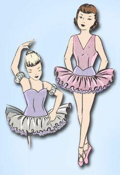 1940s Perfect Toddler's Ballet Costume Pattern Leotard Tutu Pattern Sz 4 | eBay