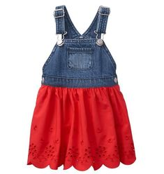 Baby Girl True Red Overall Eyelet Dress by Gymboree. cotton, Adjustable straps and side snap buttons, Chest pocket, Pieced eyelet skirt, Approximately knee length and Machine wash; Toddler Girl Dresses, Toddler Outfits, Kids Outfits, Girls Dresses, Infant Dresses, Baby Dresses, Sewing Kids Clothes, Cute Baby Clothes, Baby Girl Pants