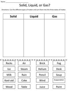 Solid Liquid Gas Worksheet - 50 solid Liquid Gas Worksheet , solid Liquid and Gas the States Of Matter Worksheets Kindergarten Science, Elementary Science, Science Classroom, Science Education, Teaching Science, Science For Kids, Earth Science, Science Penguin, Science Nature