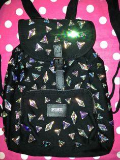 New Victoria Secret Pink Black Jewel Bling Mini Backpack Handbag Tote Bag   eBay