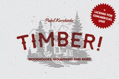 Check out TIMBER! Mountains & woodhouses by Pavel Korzhenko on Creative Market