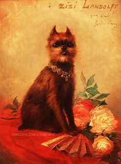 Country Griffon Bruxellois Club of NSW  Painting of a Griffon by GASTON NOURY, French painter (1866-1936).Painted in 1890, as a gift of friendship to Zizi Langloff,- costume designer for the Moulin Rouge, the French Theatre and Christian Dior