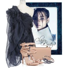 Untitled #303 by raq40 on Polyvore featuring мода, Yiqing Yin, Le Silla, Valentino, Finn, Lawrence Frames and Moa'