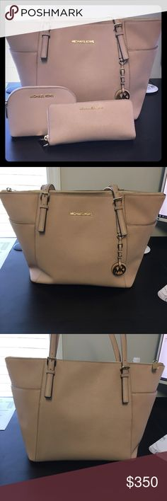 Michael Kors Jet Set Tote, Pouch, and Wallet Michael Kors Jet Set Tote, Make up Pouch, and Jet Set Continental Wallet all in light pink Blush color. Bag and wallet is a little worn as seen in pictures but no scratches or marks on anything. Make up Pouch is in perfect condition. Everything is saffino leather. I also have the strap for the wallet. Comes with dust bag as well. MICHAEL Michael Kors Bags