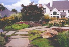 Landscaping & Natural Garden Pathway in Westchester County, NY: Landscape with Natural Stepping Stone Pathway in Armonk, Westchester County , NY. Stepping Stone Pathway, Natural Landscaping, Privacy Plants, Landscape Photos, Landscape Designs, Westchester County, Outdoor Spaces, Outdoor Decor, Natural Garden