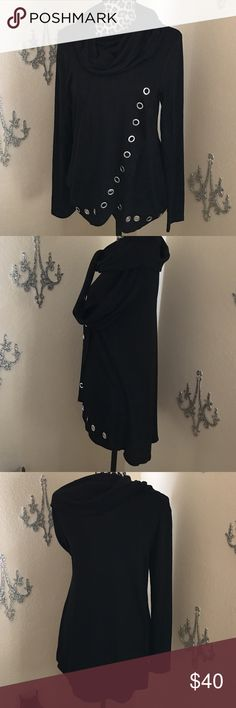 """Belldini black with silver grommet cowl neck tunic I think I might keep this one for myself!!! It's a really nice-looking cowl neck top with a high-low hemline. The front drapes and is trimmed with stunning, almost 1"""", grommets. Belldini Tops Tunics"""