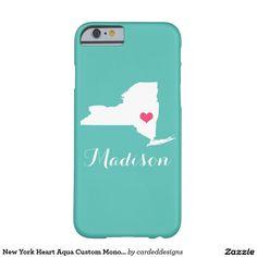 New York Heart Aqua Custom Monogram Barely There iPhone 6 Case