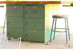 Kitchen island idea...Vintage Wood Shop Table w/ Locker Base  Butcher by OldSoulSalvage, $1395.00