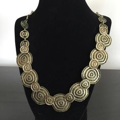 Statement Necklace Aztec design necklace set in a gold tone antique finish. Jewelry Necklaces
