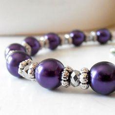 Dark Purple Bridal Jewelry Pearl Bracelet in by FiveLittleGems, $17.00