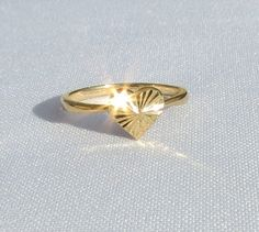 Heart Ring Gold Heart Ring 14k Gold Plated Ring Gift by ZmirArts