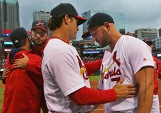 Mike Matheny and Matt Holliday following last regular season game vs. Pirates.