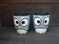 Shades of Gray Whimsical Owl  Handpainted Ceramic by InAGlaze, $23.00