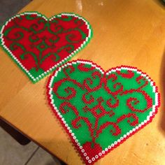 Christmas hearts hama beads by snesommer