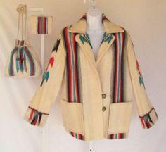 VINTAGE 1940s 50s AUTHENTIC CHIMAYO BLANKET COAT GANSCRAFT COAT HANDBAG WALLET