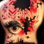 Pain Spots Trash Polka tattoo on back Cool Tattoos, Tatoos, Trash Polka Tattoo, Back Tattoo, Sleeve Tattoos, Tatting, Halloween Face Makeup, Gallery, Fall
