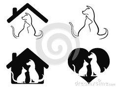 Dog and cat pet caring symbol
