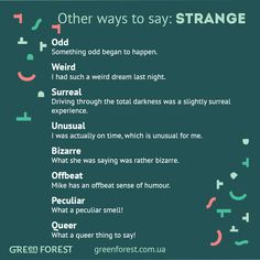 Synonyms to the word STRANGE. Other ways to say STRANGE. Синонимы к английскому слову STRANGE.