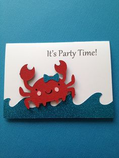 Items similar to Girly Crab Invitations Set of 10 on Etsy Crab Party, Shark Party, Invitation Set, Birthday Invitations, Under The Sea Party, Sea Theme, Birthday Parties, Birthday Ideas, Party Time