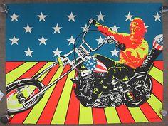 "Original Vtg Black Light ""Super Cycle"" Easy Rider Poster Peter Fonda USA Freedom | eBay"