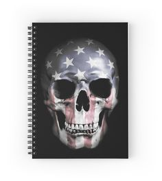 Available as T-Shirts & Hoodies, Men's Apparels, Stickers, iPhone Cases, Samsung Galaxy Cases, Posters, Home Decors, Tote Bags, Pouches, Prints, Cards, Pencil Skirts, Scarves, iPad Cases, Laptop Skins, Drawstring Bags, Laptop Sleeves, and Stationeries #skull #american #americanskull #usa #flag #notebook