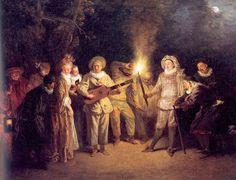 'le italien théâtre', huile sur panneau de Jean Antoine Watteau (1684-1721, France)