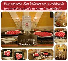 Día de San Valentin en La Republique Brasserie. Mesa decorada para dos.