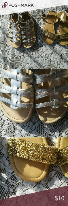 Little girl summer sandals Cute summer sandals size 11 my daughter out grew them there in good condition cute metallic shoes that match any outfit. Shoes Sandals & Flip Flops