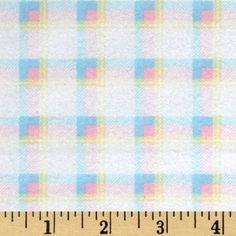 Kanvas Bunny Hop Flannel Soft Plaid White/Pastel Fabric