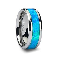QUASAR Tungsten Wedding Band with Blue Green Opal Inlay - 6 mm - 10 mm