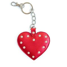Red leather heart keychain with studs Studded Leather, Red Leather, Leather Bag, Leather Bookmark, Leather Keychain, Handmade Leather, Leather Craft, Leather Accessories, Bookmarks
