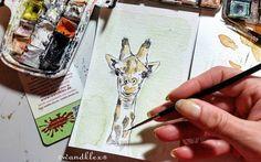 Wollt euch als #GuteNachtKlex ja eigentlich ein aufregendes Selfie von mir malen. Irgendwas ist dabei schiefgelaufen  Habt eine gute bunte Nacht schlaft schön! (die kleine Giraffenillu gibt's demnächst im Shop sobald sie trocken hinter den Ohren ist) .) .  #wandklex #malerei #handgemalt #aquarell #hahnemühle #kunst #art #watercolor #watercolour #tier #tierportrait #giraffe #giraffes #giraffe #girafa #zoo #dawandashop wandklex.dawanda.com #dawandade #dawanda_de #dawandasellers #etsyfinds…
