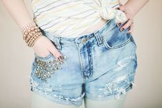 DIY Distressed Denim Shorts with Studs