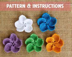 Crochet Plumeria Pattern and Instructions - Crochet Flower Pattern - Crochet Pattern for Bag or Hat Applique - Video Tutorial