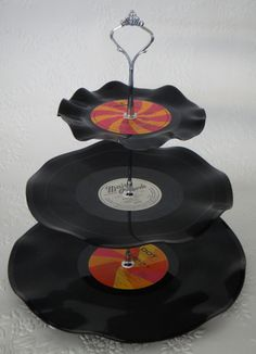 Cake stand made out of vinyl records.