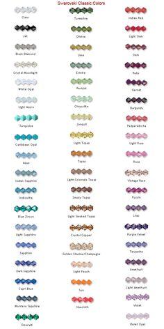 Swarovski classic colors - Cores clássicas da Swarovski