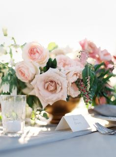 Blush rose centerpiece: http://www.stylemepretty.com/2016/01/04/intimate-sunstone-vineyards-wedding/   Photography: Jose Villa - http://josevilla.com/