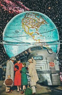Retro Journey Around The Globe.  Surreal Mixed Media Collage Art By Ayham Jabr.