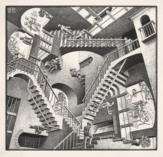 I love M.C. Escher because his art is so hard to figure out and it plays with your mind. You can stare at it and stare at it and still not figure out how it's all put together