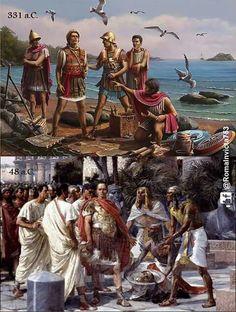 331 a.C. Alejandro Magno planifica la construcción de Alejandría.  48 a.C. Julio César presenciando la cabeza de Pompeyo Magno en Alejandría.