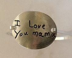 Your Child's Actual Writing Silver Message Bracelet -Tension Bracelet - Made to Order