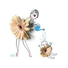 A gallery of fashion images from Adolie Day Adolie Day is a French illustrator. Mother Daughter Art, Mother Art, Creative Illustration, Cute Illustration, Art Floral, Capa Do Face, Art Sketches, Art Drawings, Art Mignon