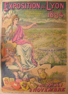 EXPOSITION DE LYON 1894 Lyon, Ad Art, World's Fair, Grand Prix, Vintage Posters, France, Golden Apple, Painting, Occasion