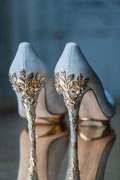 Light blue Wedding Shoes with gold details | Luxury bridal heels | Bridal accessories - Amanda Karen Photography