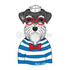 Hand drawn illustration of schnauzer sailor isolated on white - stock vector Giant Schnauzer, Schnauzer Puppy, Miniature Schnauzer, Schnauzers, Schnauzer Gigante, Love My Dog, Bulldog Cartoon, Cartoon Dog, Dog Stock Photo
