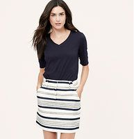 "Breton Stripe Skirt - We love how weathered stripes give this fresh piece its nautical vibe. Wide belt loops. Zip fly with hook and bar closure. Slash pockets. Back welt pockets. Lined. 17"" long."