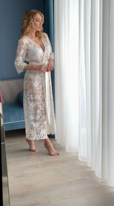 This long lace robe perfect for getting ready on your wedding day or special event prep. Delicate but flirty. The sweet ribbon belt encourages your femininity b Lace Bridal Robe, Bridal Robes, Bridal Lingerie, Women Lingerie, Lace Lingerie, Mode Kimono, Satin Dresses, Night Gown, Evening Gowns