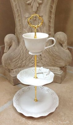 3 Tier cake Stand Lace and Bows china for by HelensRoyalTeaHouse, $45.00  https://www.facebook.com/HelensRoyalTeaHouse?ref=tn_tnmn